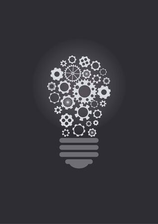 gearings: Lightbulb design with cogwheels, over dark background Illustration