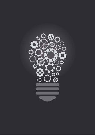 gearings: Lightbulb design with cogwheels, over dark background Illustration
