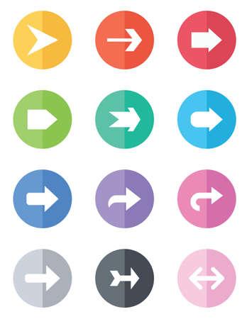 A set of 12 flat design arrows Vector