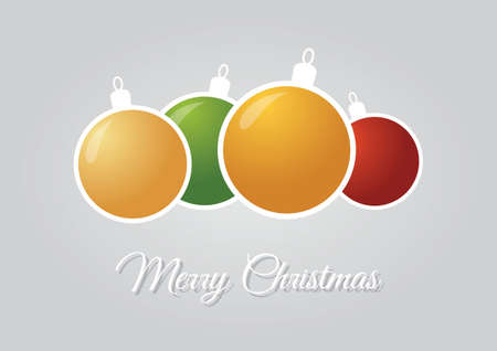 hollidays: Christmas greeting card with colorful ornaments over silver background