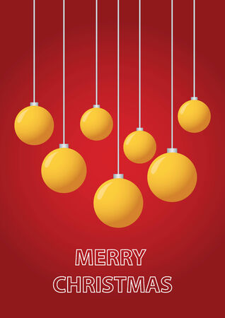hollidays: Christmas greeting card with ornaments over red background