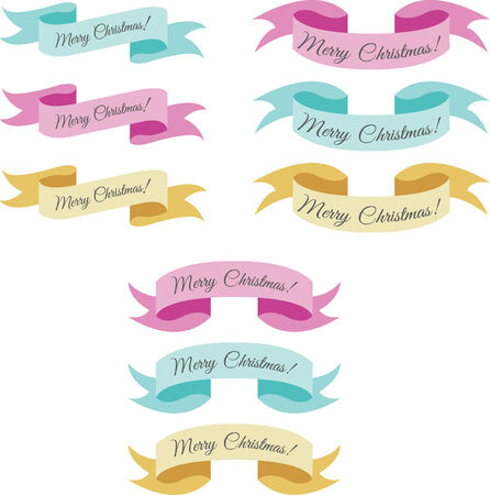 pastel colored: A set of pastel colored xmas ribbons Illustration