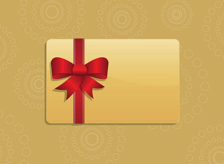 giftcard: Golden giftcard with red ribbon