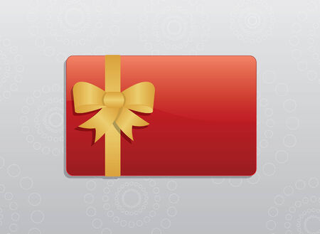 giftcard: Red giftcard with golden bow and golden ribbons
