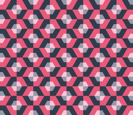 Hexagons seamless pattern, grey and pink Vector
