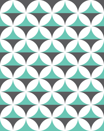 Seamless abstract geometric pattern, mint and grey, with circles Иллюстрация