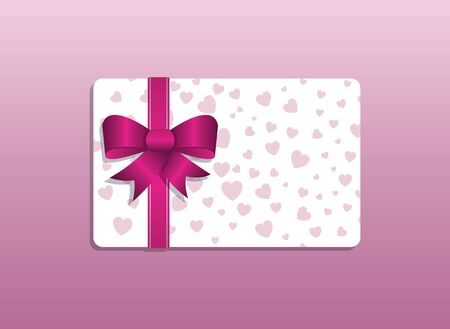 giftcard: A simple valentines day giftcard with a bow and hearts
