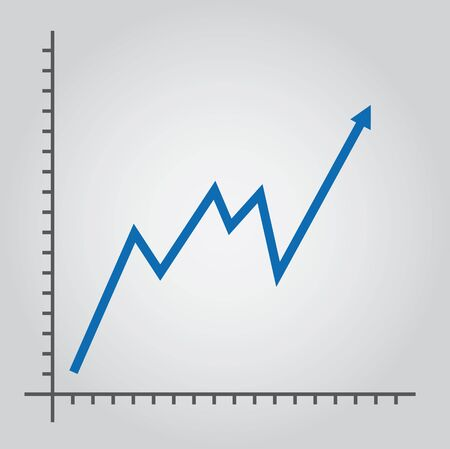 line chart: Line chart, with growth arrow Illustration
