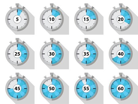 A set of flat design stopwatches, with long shadow