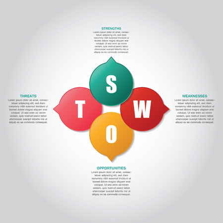 strengths: SWOT template (strengths, weaknesses, opportunities, threats) Illustration