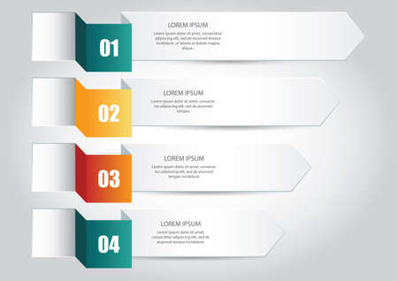 colourfull: Four colourfull and numbered infographic arrows