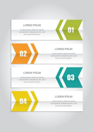 Four colourfull and numbered infographic banners