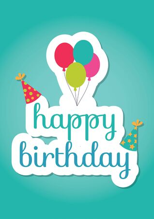 compliment: Happy birthday card with label over detailed background