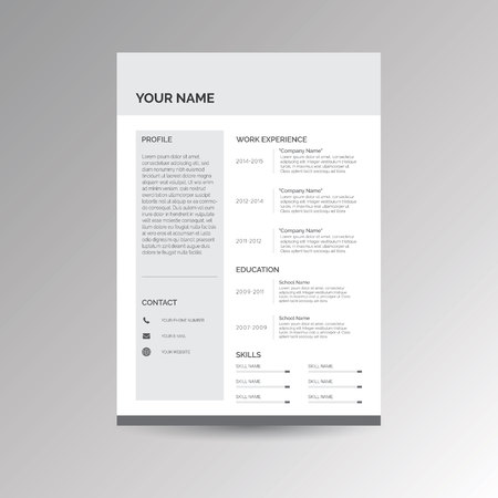 job descriptions: CV  Resume template for job applications Illustration