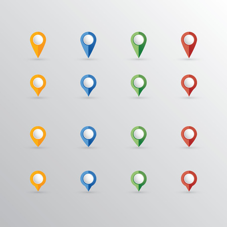 reference point: A set of colorful location pointers. Collection of blank markers for your targets, signs and icons.