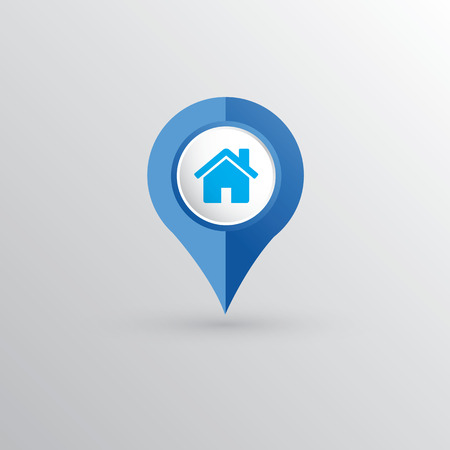 reference point: Simple location pointer with home icon Illustration