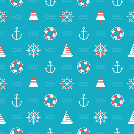 themed: Seamless nautical themed pattern for backgrounds