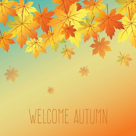 Autumn background in warm colous with leaves Illustration
