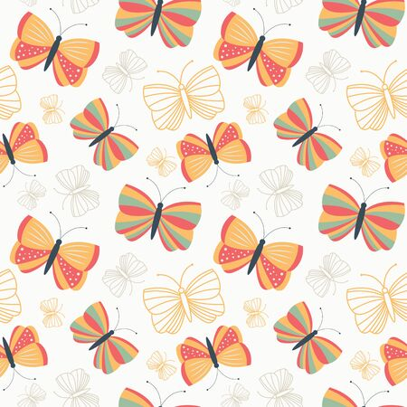 Seamless butterfllies pattern for backgrounds Иллюстрация