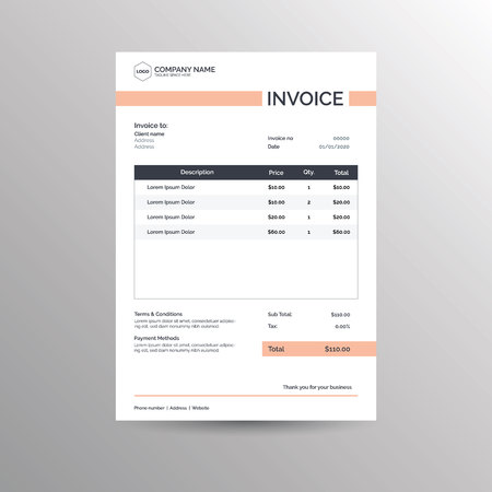 Vector invoice template design for business