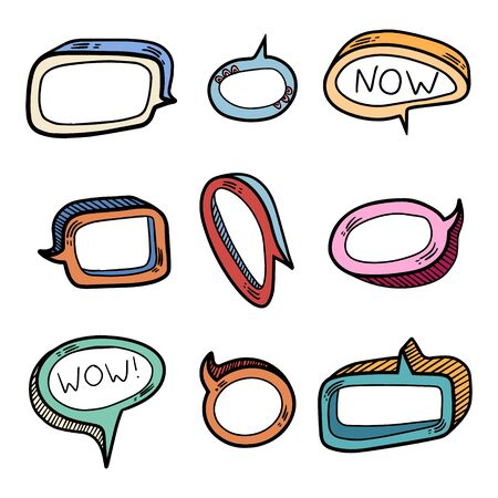 Color set of nine volume speech bubbles. Insert your own text to describe the conversation.