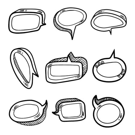 Set of nine volume speech bubbles. Insert your own text to describe the conversation.