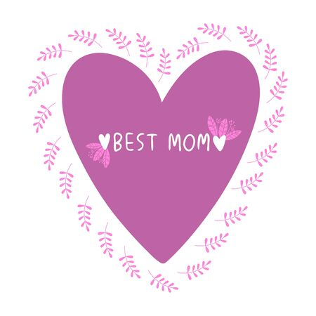 Floral print for mothers day. Lettering with a floral pattern and a heart. Ilustrace