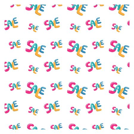 Seamless pattern lettering sale in the style of Doodle. Bright colors.