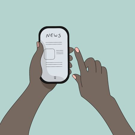 The phone is in the two hand of a dark-skinned man. News in your phone.