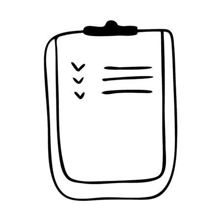 Doodle illustration of a clipboard isolated on a white background. Image of medical marks on the form. Vectores