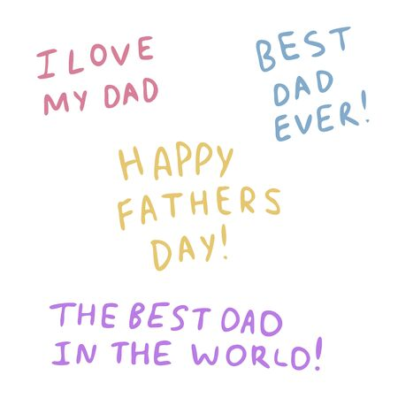 Different inscriptions for father day in the style of Doodle.