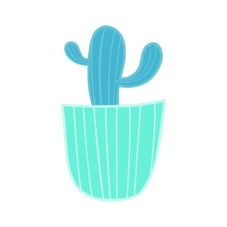 Blue cactus in a green pot. Ilustrace