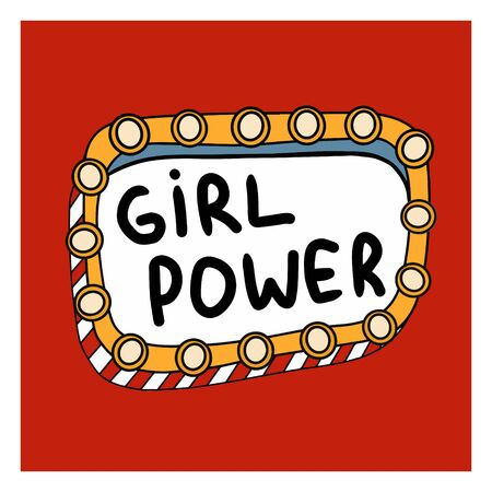 A feminist poster on red background. Bright color. Illustration in the Doodle style. Many elements. Sticker for girls. Strong woman.