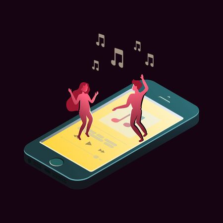 Mobile phone and characters in isometric view. Vector illustration go with the program for listening to music. Ilustração