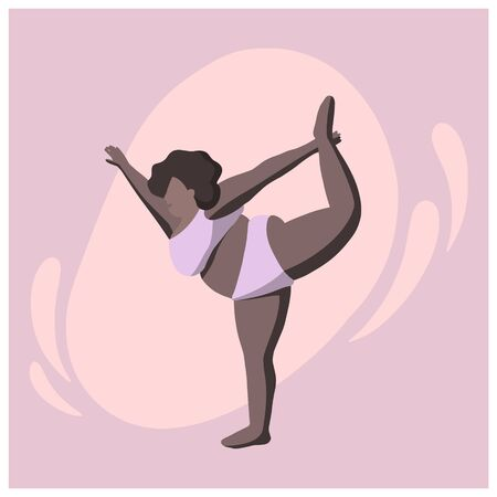 A woman with black skin does yoga. Yoga asanas for overweight people. A black woman performs yoga poses. Illustration