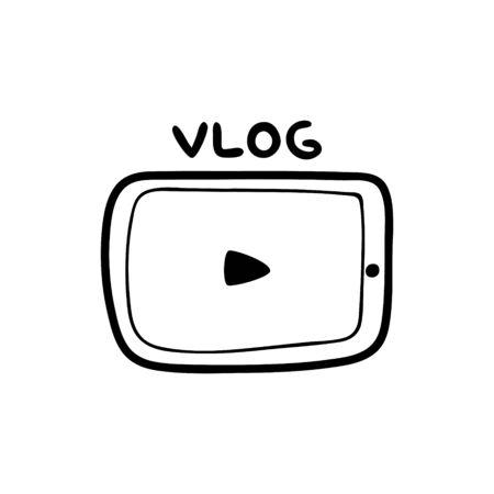 Vector illustrationDoodle illustration of a video player with a play icon. Vector Illustration