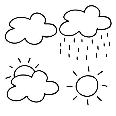 Icons of different weather isolated on a white background.