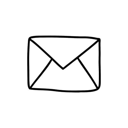 Doodle-style envelope isolated on a white background. Outline image of the message. Concept of SMS messages.