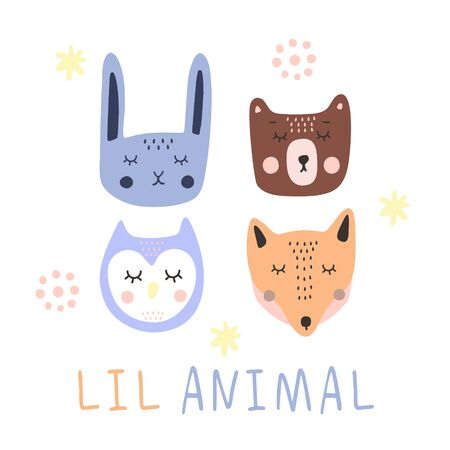 A set of cute sleeping animal faces isolated on a white background. Fox, rabbit, owl and bear. It can be used for printing on childrens clothing or other products for children.