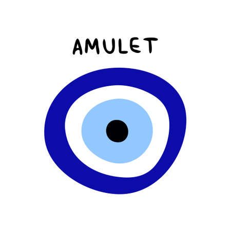 Traditional amulet from the evil eye isolated on a white background. The inscription amulet and amulet sign from the evil eye. Blue and cyan are the colors of the protective sign