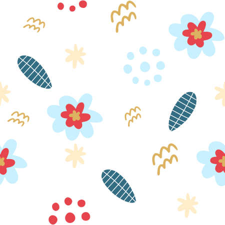Bright floral decorative pattern. Blue and pink flowers, dots and springs. Application wrapping paper, textiles, printing on clothing. Ilustrace