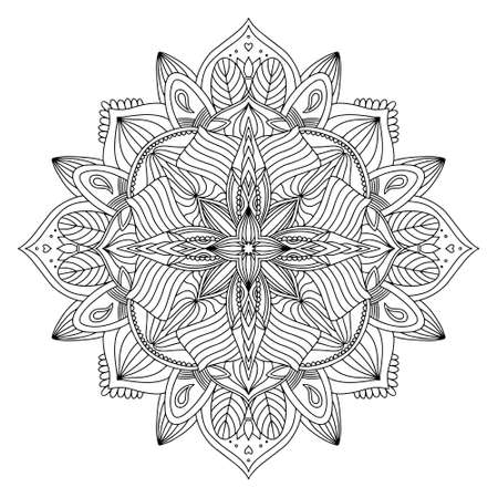 Coloring page zendal. Design for meditation, yoga, relaxation.vector mandala black outline isolated on white background. Vecteurs