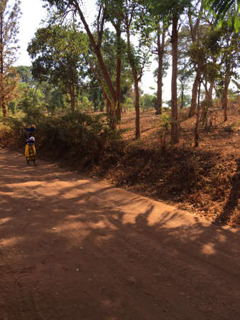 Red soil path in a Tanzanian village