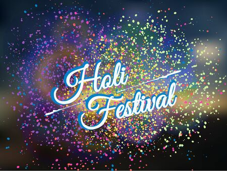 indium: Holi spring festival of colors greeting beautiful background with colorful Holi powder(gulal) paint clouds. Illustration