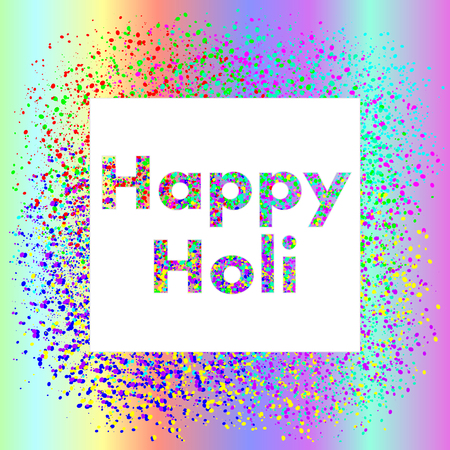 indium: Happy Holi square banner with gradient and gulal. Vector illustration of Holi festival.