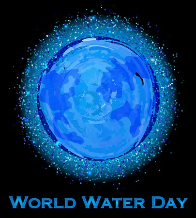 water: Vector Illustration of World Water Day. Earth view from space.