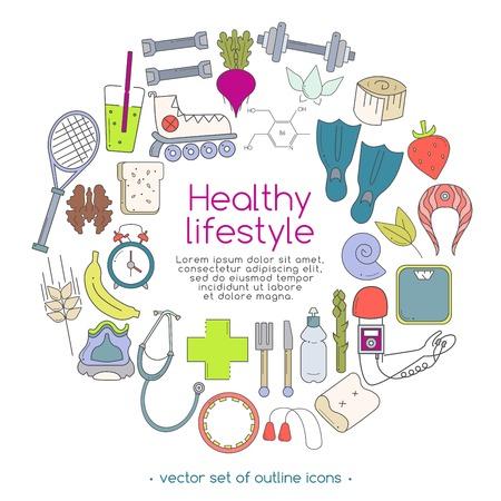 flippers: Banner de vector de iconos para su diseño web. La pancarta incluye iconos de comida saludable y deporte. Concepto de estilo de vida saludable en diseño plano. Vectores