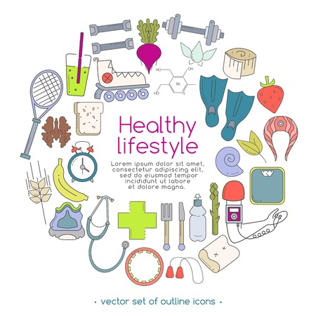 Vector banner of icons for your web design. Banner includes icons of healthy food and sport. Healthy lifestyle concept in flat design.