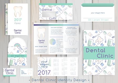 デンタル クリニック コーポレート ・ アイデンティティのテンプレート デザインのセット。ビジネスのためのマニュアル。ビジネスのひな形です。
