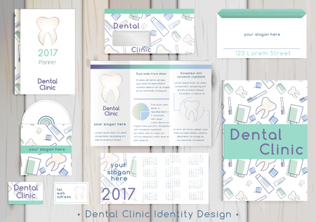 Dental Clinic corporate identity template design set. Documentation for business. Business stationery. Vector mock up. Company style for brand book and guideline with colorful abstract logo.
